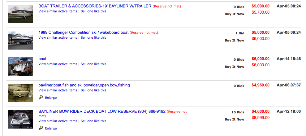 Auction of a boat on eBay